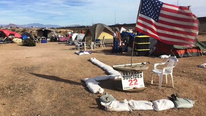 A veterans homeless camp called Camp Alpha is near Loop 202 and McKellips Drive.