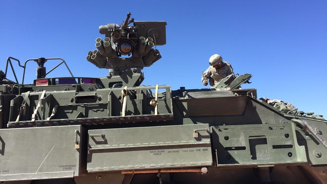 The 22nd CBRN Battalion uses a Stryker for defense during a recent exercise at Fort Bliss.