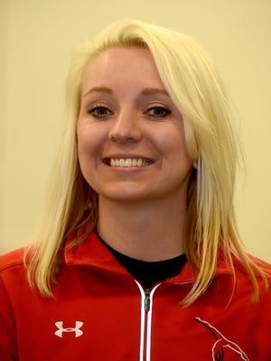 Richmond High School gymnastics Coach Justine Coblentz-Boggs Wednesday, March 1, 2017, at the Rec Plex in Richmond.