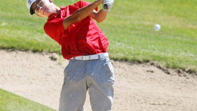 Nate Spear hits a shot during the second day of the 2020 Iowa Junior Amateur Championship June 18 at the Sprit Hollow Golf Course. Spear placed second in the Iowa PGA Junior Tour's TPC Deere Run Junior Open on Tuesday.
