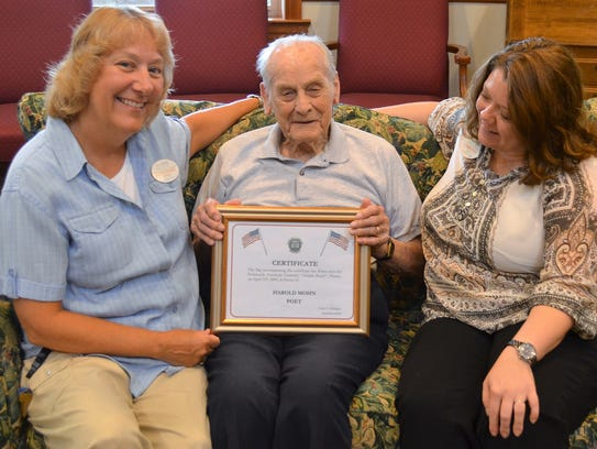 Harold Mohn, who turns 100 on Aug. 28, explains to