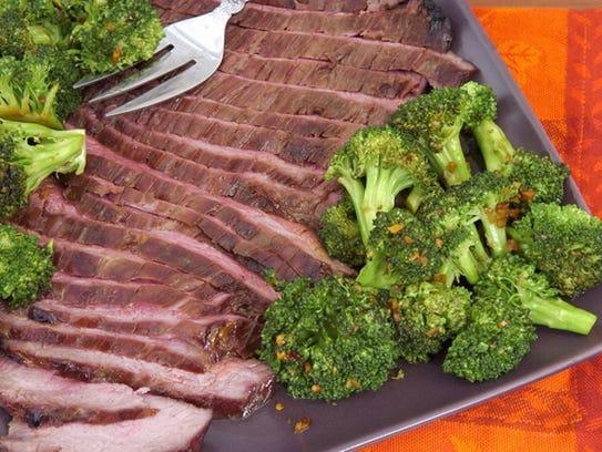 Broccoli roasted with sesame oil, garlic and lemon