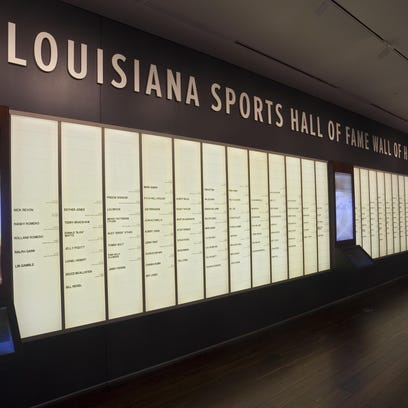 The basketball display on the second floor of the Louisiana Sports Hall of Fame museum includes among its showcase memorabilia from Jena Giants girls basketball (left) and a salute (at right) to former Louisiana Tech and WNBA great Theresa Weatherspoon, a state Hall of Famer who was selected to represent the USA at the inaugural Goodwill games, held in Moscow in July 1986.