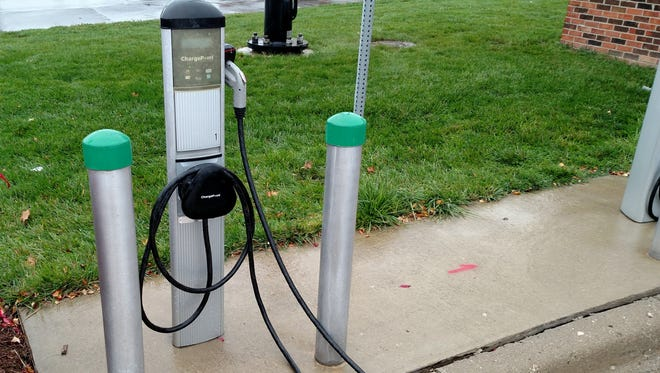 A charging station at Schoolcraft College in Livonia.
