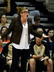 Vanderbilt coach Melanie Balcomb reacts to an official's