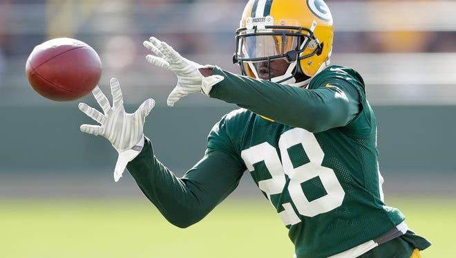 Green Bay Packers cornerback Josh Hawkins (28) during training camp at Ray Nitschke Field July 26, 2016.