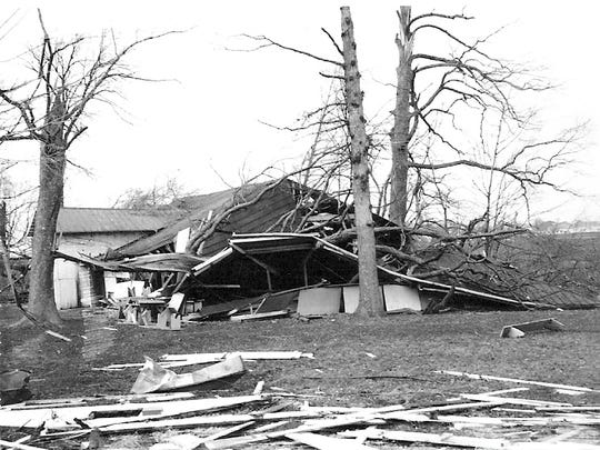 The damage done to Hannan Recreation Park is shown in this photo taken after a tornado went through Fairfield County on April 12, 1965.