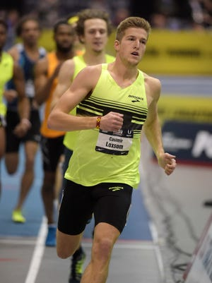 Casimir Loxsom wins the 600 in an American record 1:15.33 in the 2015 USA Indoor Championships at Reggie Lewis Center.