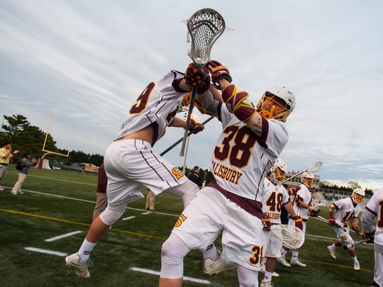 Salisbury defender Chase Conley (49) and attack Daniel Long (38) celebrate a goal against York College in the regular season Capital Athletic Conference finale on Wednesday at Sea Gull Stadium.