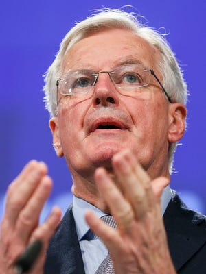 Michel Barnier, the European Chief Negotiator of the Task Force for the Preparation and Conduct of the Negotiations with the United Kingdom under Article 50, gives a press conference on the status of the negotiations, in Brussels, Belgium, Dec. 20, 2017.