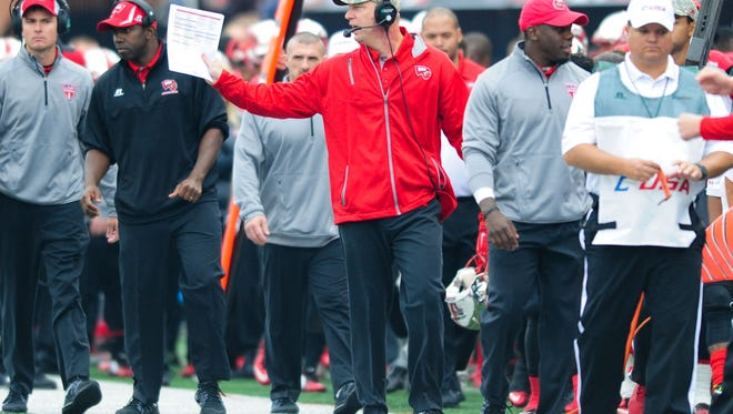 Nov 7, 2015; Bowling Green, KY, USA; Western Kentucky Hilltoppers head coach Jeff Brohm gestures from the sideline during the second half against Florida Atlantic Owls at Houchens Industries-L.T. Smith Stadium. Western Kentucky Hilltoppers won 35-19. Mandatory Credit: Joshua Lindsey-USA TODAY Sports