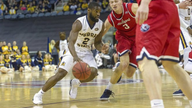 Murray State guard Jonathan Stark (2) drives with the ball during the 2018 Ohio Valley Conference Tournament title game against Belmont. March 3, 2018