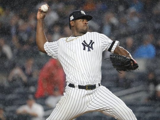 Luis Severino pitches in the first inning of Game 4 of the ALDS at Yankee Stadium, Monday, October 9, 2017.