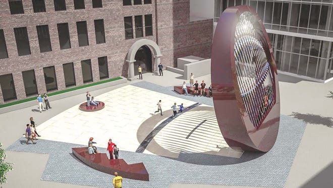 "The design for a work of public art, titled ""The Lens,"" that is planned to be completed in Black Hawk Mini Park by the summer of 2017."