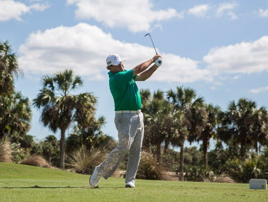 David Frost tees off from the second hole during the