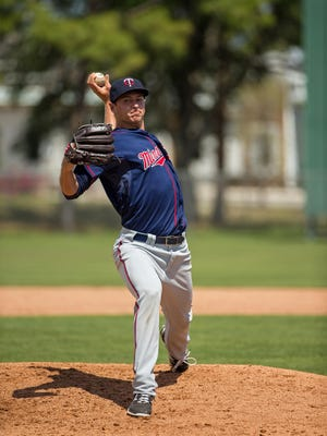 Minnesota Twins pitching prospect Stephen Goncalves shows his prowess during a spring training workout. The lefty joined the Fort Myers Miracle's pitching rotation Thursday.
