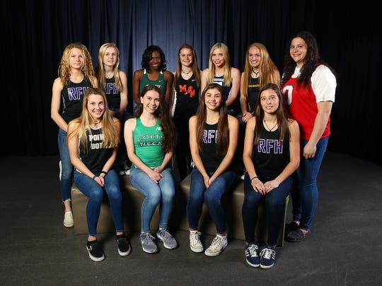 All-Shore girls track first team. Front row: Riley Larsen, Point Pleasant Boro, l, Colleen Megerly, Colts Neck, Olivia Rehder, Rumson Fair Haven, Kaitlyn MacGillis, Rumson Fair Haven. Back row:  Lily Orr, Rumson Fair Haven, l, Campbell Devlin, Rumson Fair Haven,  Jaela Thomas, Brick Memorial, Katelyn Reid, Middletown North, Maddie Brand, Middletown South, Amanda Stone, Monmouth Regional,  Emma Vasen, Ocean Twp. High School.  March 20, 2018. Neptune, NJ.