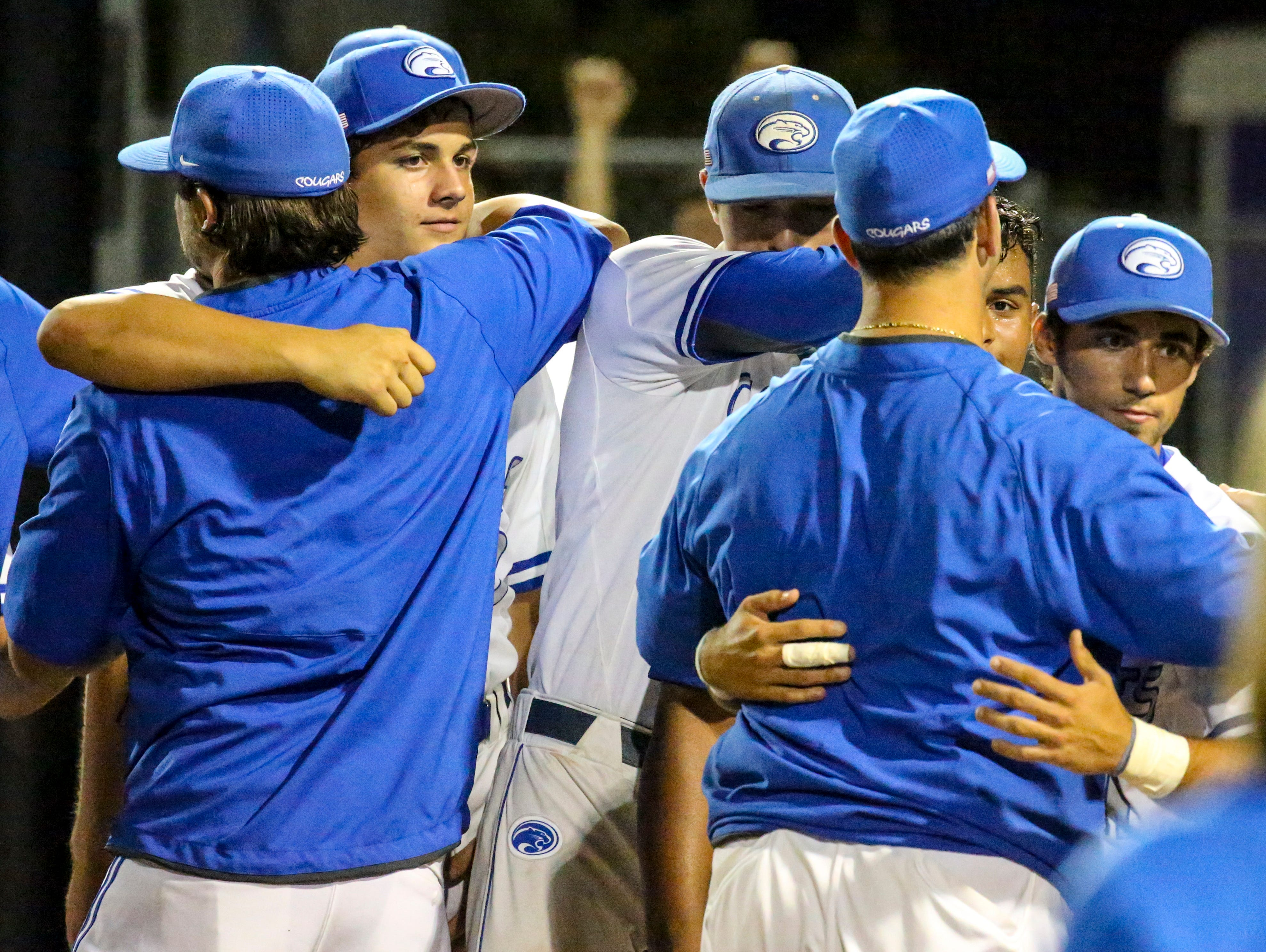 Region 3A-3 semifinal baseball between Canterbury and Sarasota Out of Door Academy. Canterbury won 2-0 to advance and the team celebrates their win.