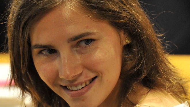 Amanda Knox in court before the start of a session of her appeal trial in Perugia's courthouse in July 2011.