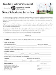To submit the name of a Glendale veteran for inclusion