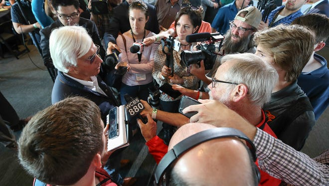 Bob Baffert surrounded by the media after the post position draw at Citi Field on Tuesday night in New York.