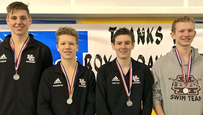 Henderson County's 200-yard  medley relay team of, from left, John Logan, Ethan Mushrush, Dalton Sawyer and Jack Raymer finished second in Saturday's Region One Swimming & Diving Championships and qualified for the state meet Feb. 22-24 in Louisville