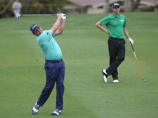 Jason Dufner hits his second shot into the 6th hole at the La Quinta Country Club during the third round of the CareerBuilder Challenge, January 23, 2016.