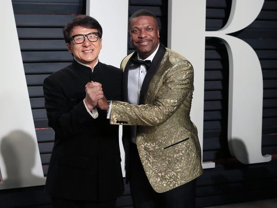 They really are friends: Jackie Chan (left) and Chris