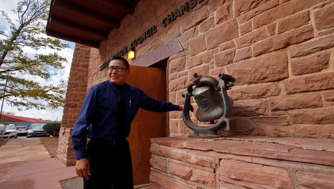 Seymour Smith rings the bell Oct. 19, 2015, to start the fall session of the Navajo Nation Council at the council chamber in Window Rock, Ariz. This year's fall session begins Monday.
