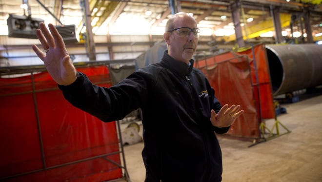 Process Equipment & Service Co. President Kyle Rhodes talks about the company's operations on Jan. 6 at the PESCO facility in Farmington.