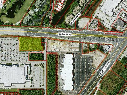 Commons on Collier, a one-story, multitenant retail building, is planned for an out-parcel (shaded yellow) next to the Walmart Supercenter, left, on Collier Boulevard south of U.S. 41 East.