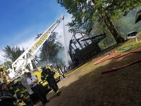 Firefighters were called to a fully-involved house fire north of Aumsville Tuesday.