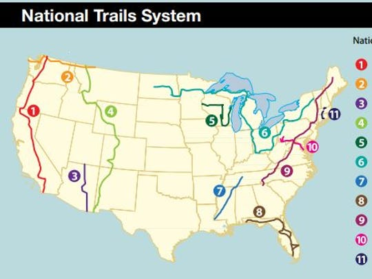 Running approximately 2,650 miles between Canada and Mexico the Pacific Crest Trail (shown in red) is the second-longest of 11 trails in the National Scenic Trails System.