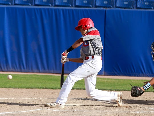 The ClubSox's Gavin Mestas gets a hit during the game against the Flat Bill Ducks on Wednesday at Ricketts Park.