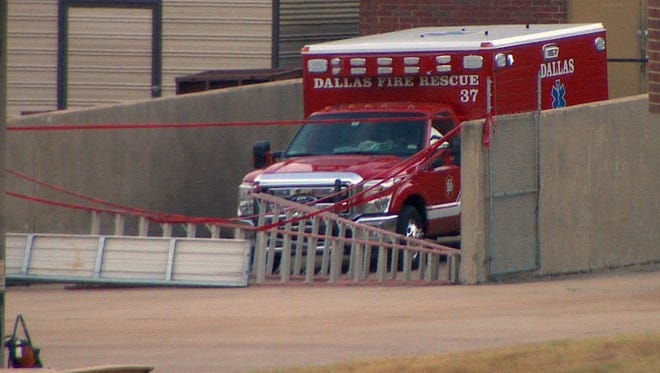 Dallas Fire-Rescue ambulance No. 37, which transported a patient later determined to be infected with the Ebola virus, is quarantined.