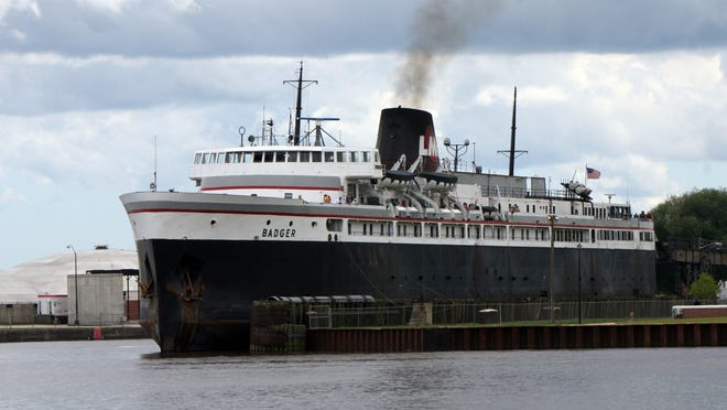 The car ferry Badger travels between Ludington and Manitowoc, Wis. It is a coal-fired ship that used to carry railroad cars between the two ports. Now it carries passengers and vehicles.