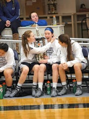Tome girls varsity basketball players Nancy Zhang, from left, Lindsay Lane, Hannah Miller, Francesca Gentile, Lindsay Llewellyn and Abby Hershman won the Tome Christmas Classic tournament.