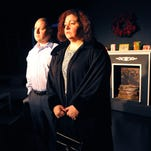 Paul Padilla, Orlando as Cal Porter , and Janine Charnesky, of Titusville as Katharine Gerard in mothers and sons playing at the Titusville Playhouse 2nd stage Feb. 12th  to Feb. 21st.