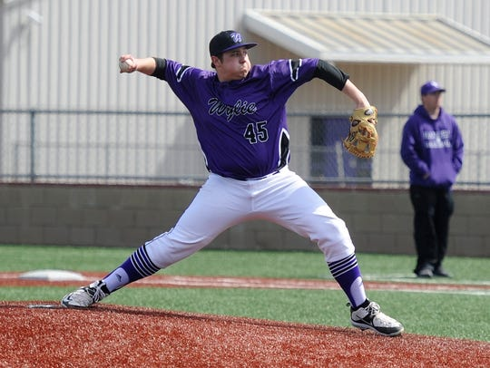 Wylie pitcher Blake Smith (45) goes through his motion