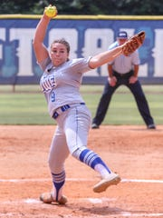 West Florida pitcher Sarah Maloney (9) pitches against