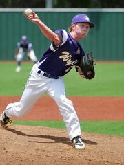 Abilene Wylie's Hutton Frazier pitches against Godley during the first game of a double header Wednesday at Hoskins Field.