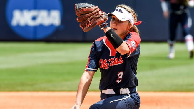 Ole Miss pitcher Kaitlin Lee (3) has thrown 12 consecutive complete games.