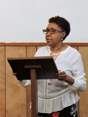 """Director of the Walter Brewer - Bemis Community Center Ida """"Lucy"""" Smith welcomes community members at the center's dedication ceremony on April 14, 2018."""