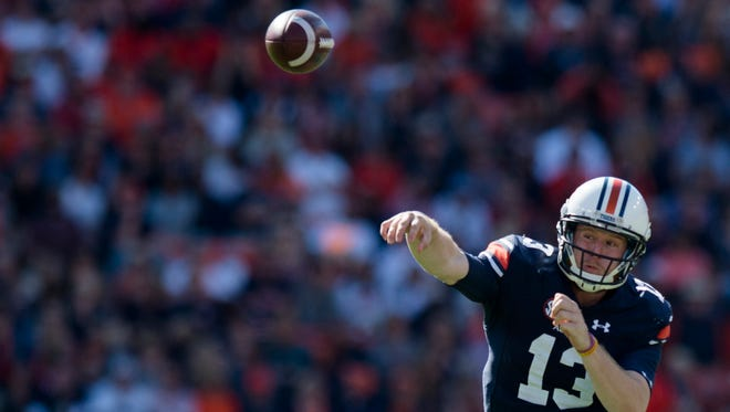 Auburn quarterback Sean White (13) throws a pass during the NCAA football game between Auburn and Vanderbilt Saturday, Nov. 5, 2016, at Jordan-Hare Stadium in Auburn, Ala.