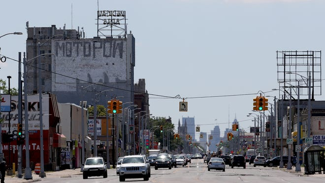 A view of one area of Highland Park, Michigan as seen looking south down Woodward Avenue on Thursday, June 30, 2015.Eric Seals/Detroit Free Pres