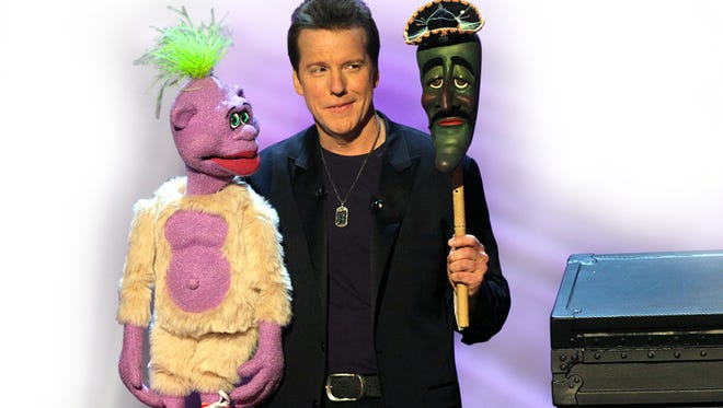 In this undated image released by Levity Productions, comedian Jeff Dunham performs with his ventriloquist dolls, Peanut, left, Jose Jalapeno. (AP  Photo/Levity Productions, Tom Whitmore)