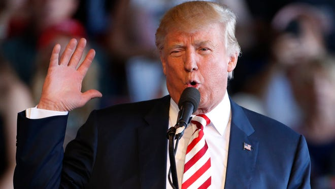 Republican presidential candidate Donald Trump speaks at a rally at Grand Junction Regional Airport on Oct. 18, 2016 in Grand Junction Colo.