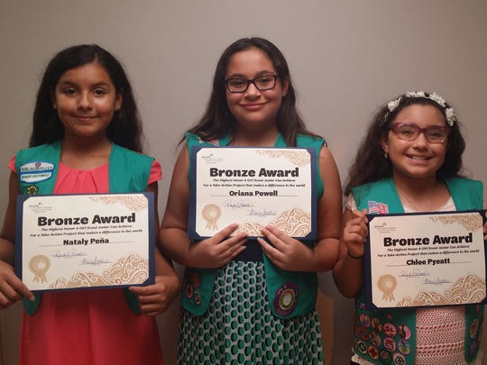 Bronze awardees (left to right) Nataly Pena Oriana Powell and Chloe Pyeatt.