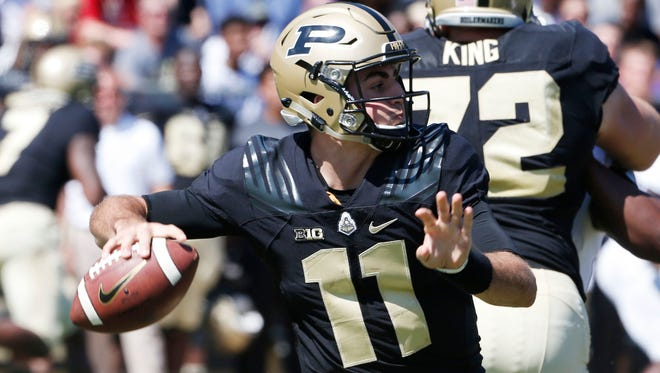 Purdue quarterback David Blough is talented but also has made some big mistakes this season.
