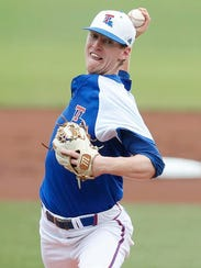 Louisiana Tech pitcher Cameron Linck (24) bears down